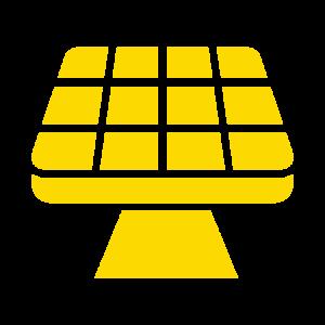 Keltainen aurinkopaneeliikoni.