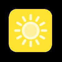 Keltaiselle taustalle piirretty aurinko