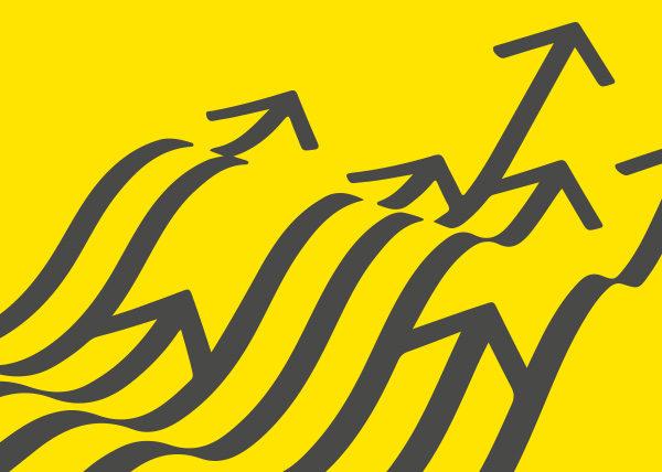 Karhu Voima kuva, jossa keltaisella pohjalla aaltoilevia nuolia.