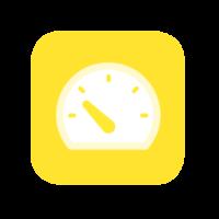 Tempo-tuotteen kuvaikoni, jossa mittari keltaisella pohjalla