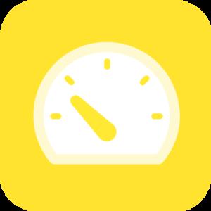 Karhu Voiman Tempo-tuotteen ikoni, jossa piirretty mittari keltaisella pohjalla